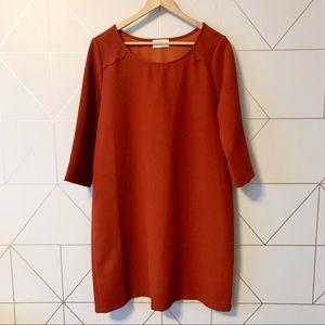 Everly Burnt Orange Scalloped Shift Dress